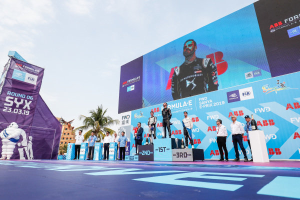 Jean-Eric Vergne (FRA), DS TECHEETAH, 1st position, Oliver Rowland (GBR), Nissan e.Dams, 2nd position, and Antonio Felix da Costa (PRT), BMW I Andretti Motorsports, 3rd position, on the podium.