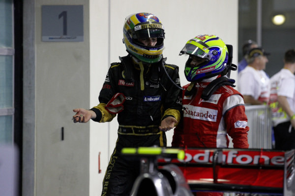 Bruno Senna and Felipe Massa in conversation after the race.