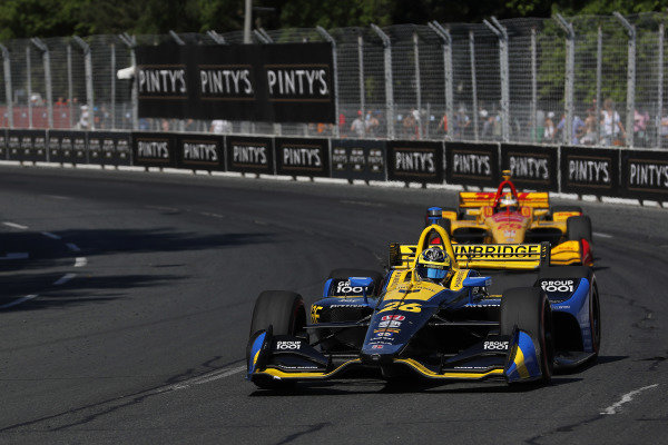 Zach Veach, Andretti Autosport HondaSimon Pagenaud, Team Penske Chevrolet celebrates in victory lane