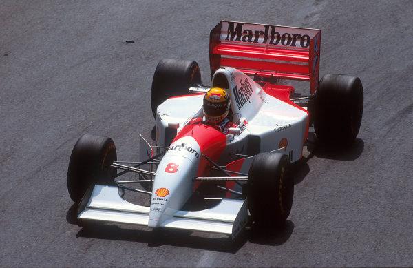 1993 Monaco Grand Prix.Monte Carlo, Monaco.20-23 May 1993.Ayrton Senna (McLaren MP4/8 Ford) 1st position.Ref-93 MON 10.World Copyright - LAT Photographic