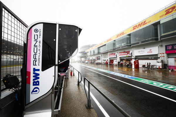 Pit wall with Racing Point F1 Team