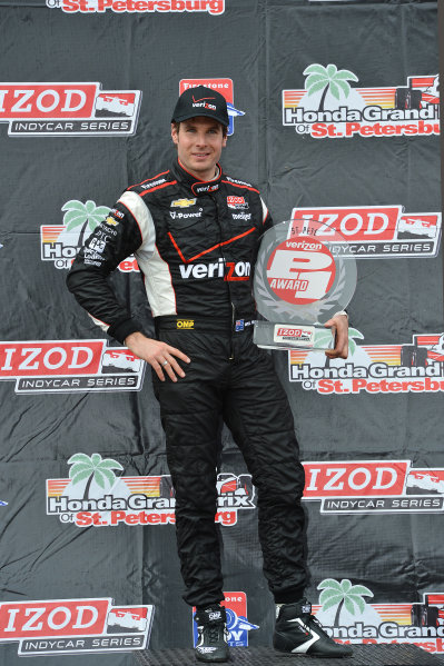 Will Power (AUS) Team Penske, with the pole position award. IndyCar Series, Rd1, Honda Grand Prix of St. Petersburg, St. Petersburg, Florida, USA, 22-24 March 2013.