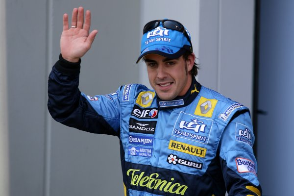 2006 European Grand Prix - Saturday Qualifying Nurburgring, Germany. 4th - 7th May 2006 Fernando Alonso, Renault R26, pole position winner, portrait. World Copyright: Charles Coates/LAT Photographic ref: Digital Image ZK5Y2410