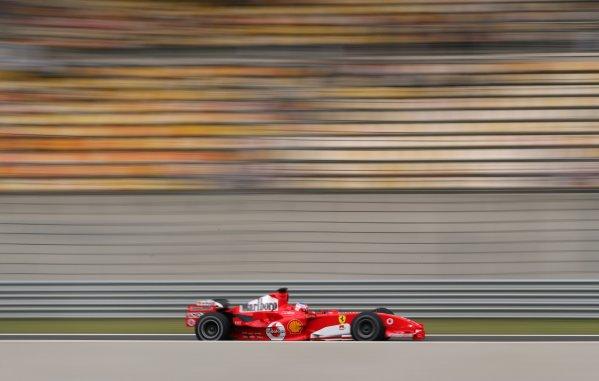 2005 Chinese Grand Prix - Friday Practice, Shanghai, China. 14th October 2005  Rubens Barrichello, Ferrari F2005, action. World Copyright: Steve Etherington/LAT Photographic  ref: 48mb Hi Res Digital Image
