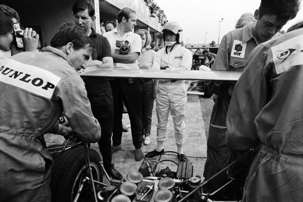 Jackie Stewart in the pits with Ken Tyrrell.