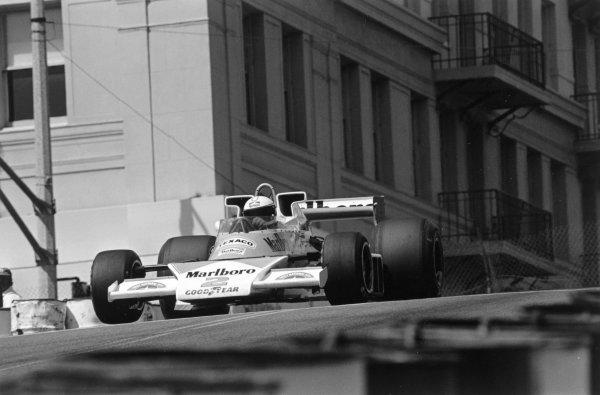 1977 Long Beach Grand Prix.Long Beach, California, USA. 3 April 1977.Jochen Mass (McLaren M23-Ford Cosworth). Ref-9638 #7A.World Copyright - LAT Photographic