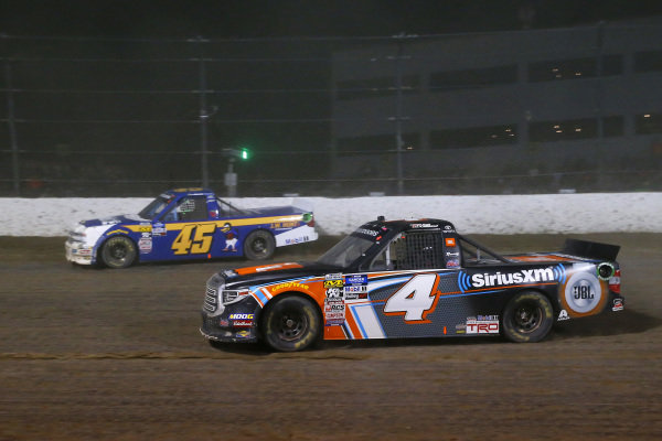 #4: Todd Gilliland, Kyle Busch Motorsports, Toyota Tundra JBL/SiriusXM and #45: Ross Chastain, Niece Motorsports, Chevrolet Silverado Niece/Jack Hewitt Tribute