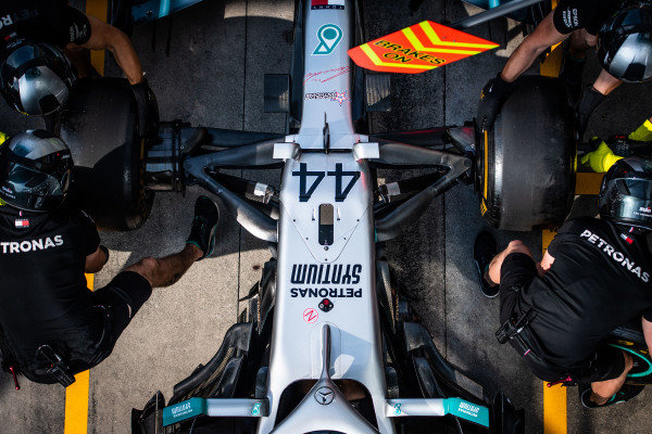 Mercedes AMG F1 pit stop practice with the Mercedes AMG F1 W10