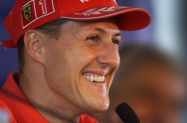 2001 French Grand PrixMagny Cours, France. 28th June 2001Michael Schumacher, Ferrari F2001, smiles during the Thursday press conference - portrait.World Copyright: Steve Etherington/LAT Photographicref: 18mb Digital Image
