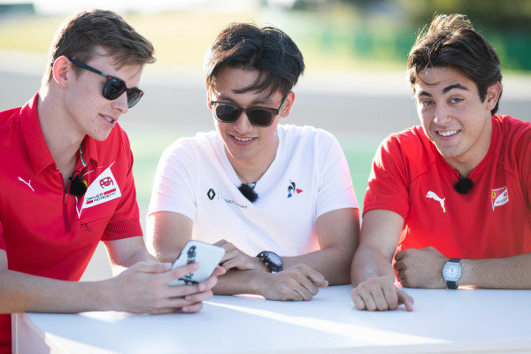 HUNGARORING, HUNGARY - AUGUST 01: Callum Ilott (GBR, SAUBER JUNIOR TEAM BY CHAROUZ) Guanyu Zhou (CHN, UNI VIRTUOSI) and Giuliano Alesi (FRA, TRIDENT) during the Hungaroring at Hungaroring on August 01, 2019 in Hungaroring, Hungary. (Photo by Joe Portlock / LAT Images / FIA F2 Championship)