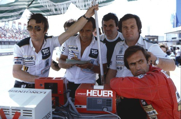 1981 Spanish Grand Prix.Jarama, Spain.19-21 June 1981.Carlos Reutemann (Williams FW07C Ford) at the pit wall with team manager Jeff Hazel, Charlie Crichton-Stuart, Alan Jones and Patrick Head. Ref-81 ESP 23.World Copyright - LAT Photographic