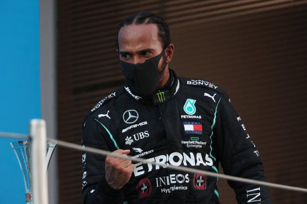 Lewis Hamilton, Mercedes-AMG Petronas F1, 1st position, arrives on the podium
