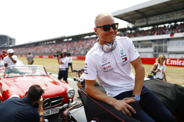 Valtteri Bottas, Mercedes AMG F1, on the drivers' parade.
