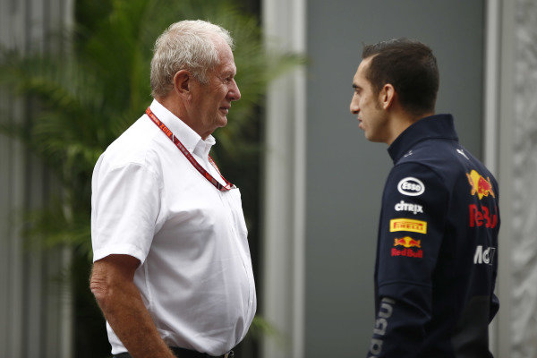 Helmut Markko, Consultant, Red Bull Racing, with Sebastien Buemi, Test and Reserve Driver, Red Bull Racing