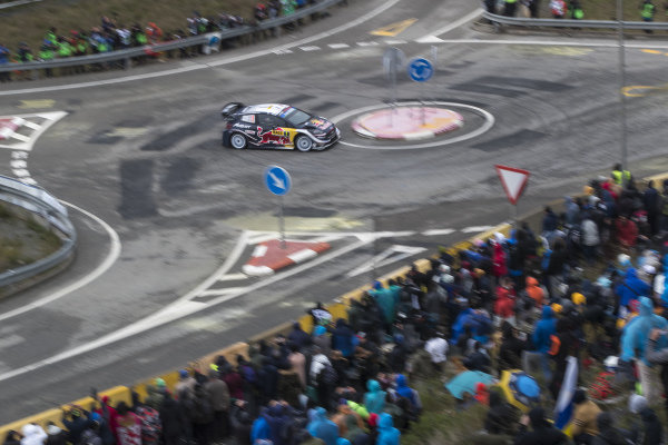 Sébastien Ogier, M-Sport Ford, Ford Fiesta WRC 2018, on the Riudecanyes roundabout