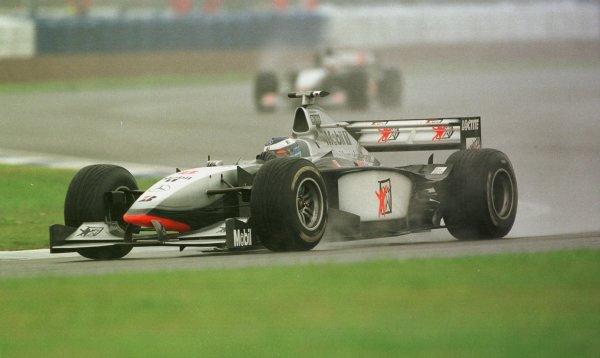 1998 British Grand Prix.Silverstone, England.10-12 July 1998.Mika Hakkinen (McLaren MP4/13 Mercedes-Benz) 2nd position.World Copyright - LAT Photographic