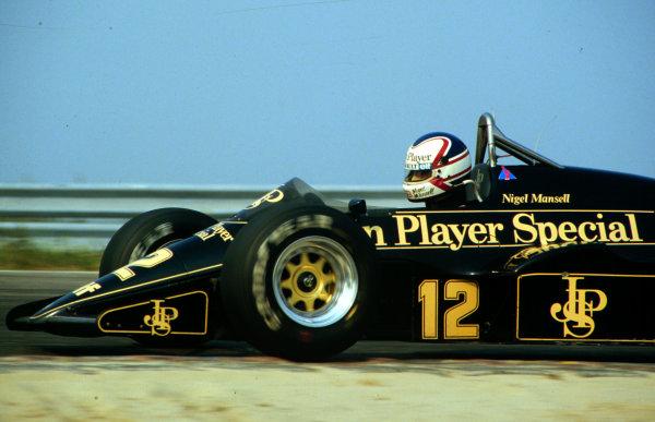1984 Dutch Grand Prix.Zandvoort, Holland.24-26 August 1984.Nigel Mansell (Lotus 95T Renault) 3rd position.World Copyright - LAT Photographic
