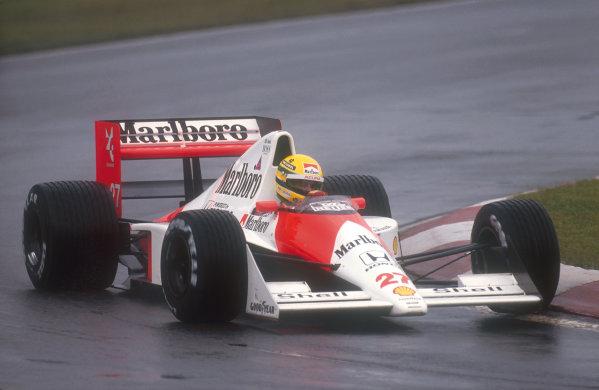 1990 Canadian Grand Prix.Montreal, Canada.8-10 June 1990.Ayrton Senna (McLaren MP4/5B Honda) 1st position.Ref-90 CAN 05.World Copyright - LAT Photographic