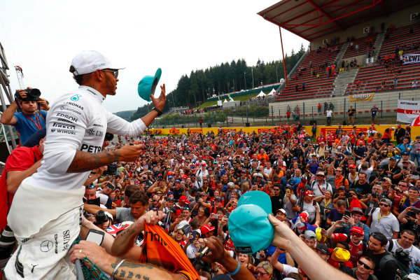 Spa Francorchamps, Belgium.  Sunday 27 August 2017. Lewis Hamilton, Mercedes AMG, 1st Position, celebrates with fans after the race. World Copyright: Sam Bloxham/LAT Images  ref: Digital Image _W6I1793