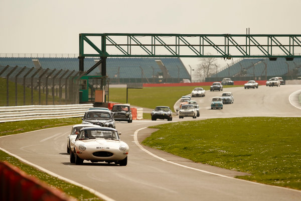 2017 Silverstone Classic Media Day. Silverstone, Northamptonshire. 23rd May 2017. Jaguar E-Type. World Copyright: JEP/LAT Images.