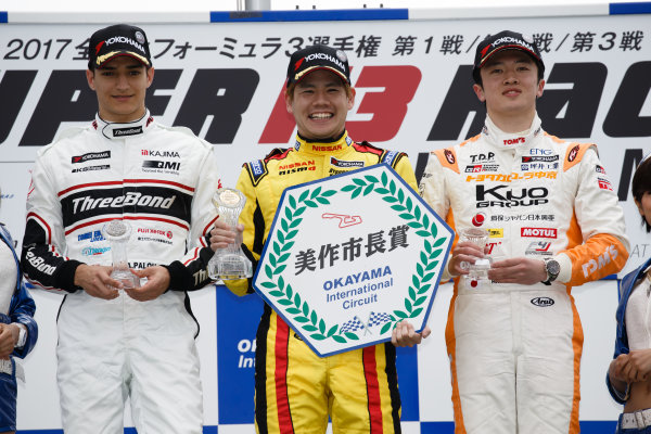 2017 Japanese Formula 3 Championship. Okayama, Japan. 1st - 2nd April 2017. Rd 1, 2 & 3. Rd.3 Winner Mitsunori Takaboshi ( #23 B-MAX NDDP F3 ) 2nd position Alex Palou ( #12 Three Bond Racing with DRAGO CORSE ) 3rd position Ritomo Miyata ( Corolla Chukyo Kuo TOM?S F314 ) podium, portrait. World Copyright: Masaaki Kitagawa / LAT Images. Ref: 2017JF3_Rd1_3_015