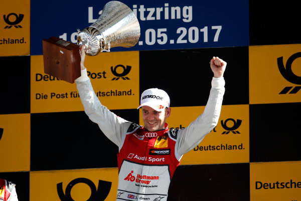 2017 DTM Round 2 Lausitzring, Germany. Sunday 21 May 2017. Podium:  Race winner Jamie Green, Audi Sport Team Rosberg, Audi RS 5 DTM World Copyright: Alexander Trienitz/LAT Images ref: Digital Image 2017-DTM-R2-ESL-AT1-4700
