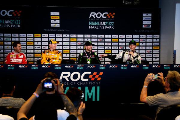 2017 Race of Champions Miami, Florida, USA Sunday 22 January 2017 Press Conference with Sebastian Vettel, Kyle Busch, Kurt Busch and Petter Solberg World Copyright: Alexander Trienitz/LAT Photographic ref: Digital Image 2017-RoC-MIA-AT1-1646