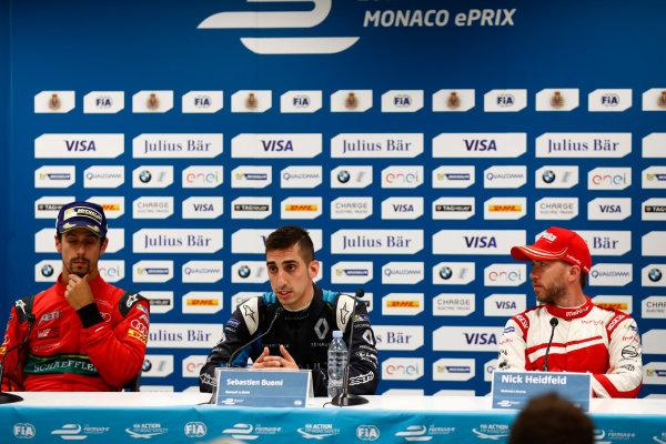 2016/2017 FIA Formula E Championship. Monte-Carlo, Monaco Saturday 13 May 2017. Lucas Di Grassi (BRA), ABT Schaeffler Audi Sport, Spark-Abt Sportsline, ABT Schaeffler FE02, Sebastien Buemi (SUI), Renault e.Dams, Spark-Renault, Renault Z.E 16, and Nick Heidfeld (GER), Mahindra Racing, Spark-Mahindra, Mahindra M3ELECTRO, in the Press Conference. Photo: Sam Bloxham/LAT/Formula E ref: Digital Image _W6I6870