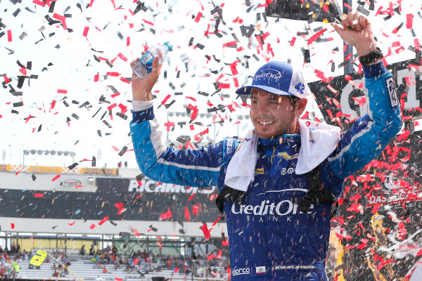 NASCAR Xfinity Series ToyotaCare 250 Richmond International Raceway, Richmond, VA USA Saturday 29 April 2017 Kyle Larson, Credit One Bank Chevrolet Camaro celebrates in victory lane World Copyright: Russell LaBounty LAT Images ref: Digital Image 17RIC1Jrl_4647