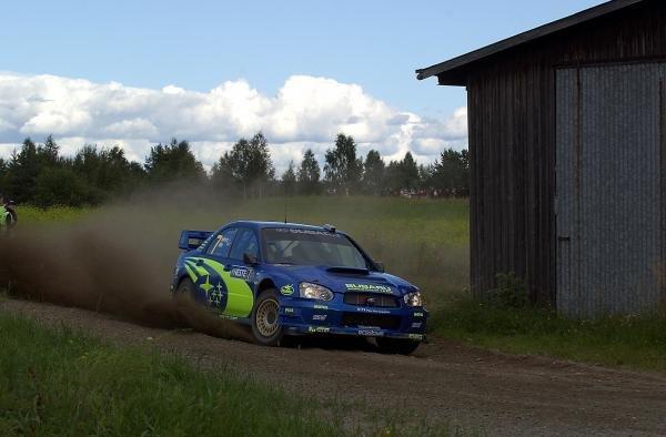 Petter Solberg (NOR) Subaru Impreza WRC 2003.FIA World Rally Championship, Rd9, Neste Rally Finland, Jyvaskyla, Finland. Day 2, 9 August 2003.DIGITAL IMAGE
