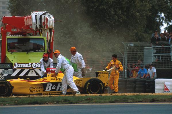 Albert Park, Melbourne, Australia.7-9 March 1997.Giancarlo Fisichella (Jordan 197 Peugeot) spins out on lap 14.Ref-97 AUS 18.World Copyright - LAT Photographic