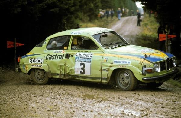 Hans Sylvan (FIN) Saab.Lombard RAC Rally, Great Britain, November 1973.