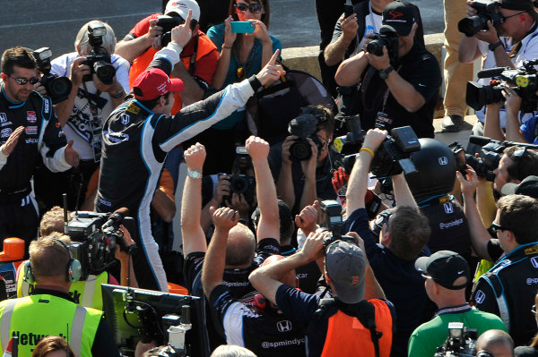 8-10 May, 2014, Indianapolis, Indiana, USA Simon Pagenaud celebrates the win with the media in victory lane.  ©2014 Scott R LePage  LAT Photo USA