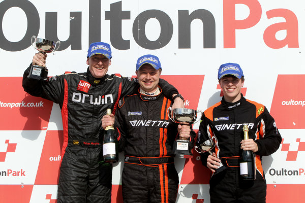 2014 Protyre Motorsport Ginetta GT5 Challenge, Oulton Park, Cheshire. 19th April 2014. Race 2 G20 Podium (l-r) Brian Murphy (GBR) Orwin Ginetta G20, Stuart Pearson (GBR) Ginetta G20, Alex Preston (GBR) Tolman Motorsport Ginetta G20. World Copyright: Ebrey / LAT Photographic.