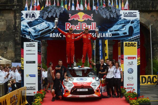 Sebastien Chardonnet (FRA) and Thibault De La Haye (FRA), Citroen DS3 R3T, WRC3 winners on the podium.FIA World Rally Championship, Rd9, ADAC Rally Germany, Day Four, Trier, Germany, 25 August 2013.