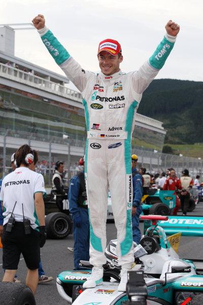 2014 Super Formula Series Autopolis, Japan. 13th - 14th September 2014. Rd 5. Winner Andre Lotterer ( #36 PETRONAS TOM'S SF14 ) parc ferme, portrait World Copyright: Masahide Kamio / LAT Photographic. Ref:  2014SF_Rd5_003.JPG