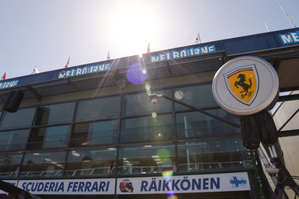 Ferrari logo at Formula One World Championship, Rd1, Australian Grand Prix, Preparations, Albert Park, Melbourne, Australia, Wednesday 11  March 2015.