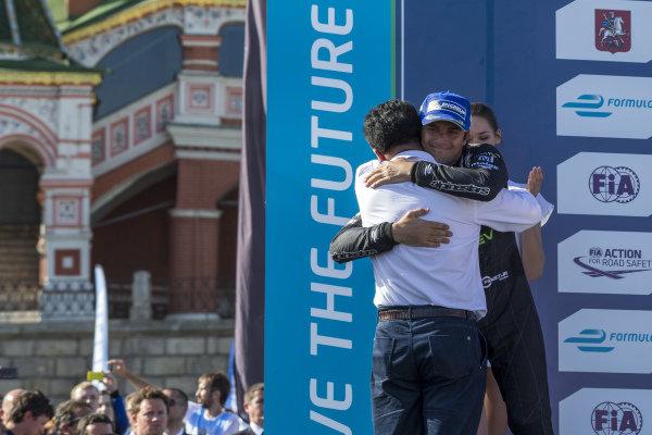 Nelson Piquet Jr (BRA) - NEXTEV TCR Formula E Team celebrates on the podium with Steven Lu - Owner NEXTEV TCR at Formula E Championship, Rd9, Moscow, Russia, 4-6 June 2015.