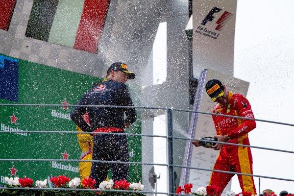 2016 GP2 Series Round 9. Autodromo Nazionale di Monza, Monza, Italy. Sunday 4 September 2016. Pierre Gasly (FRA, PREMA Racing), Norman Nato (FRA, Racing Engineering), Antonio Giovinazzi (ITA, PREMA Racing)  Photo: Zak Mauger/GP2 Series Media Service. ref: Digital Image _L0U6204