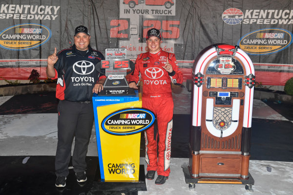 NASCAR Camping World Truck Series Buckle Up In Your Truck 225 Kentucky Speedway, Sparta, KY USA Friday 7 July 2017 Christopher Bell, Toyota Toyota Tundra and Ryan Fugle celebrate in victory lane  World Copyright: Logan Whitton LAT Images