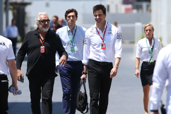 Baku City Circuit, Baku, Azerbaijan. Saturday 24 June 2017. Flavio Briatore with Toto Wolff, Executive Director (Business), Mercedes AMG. World Copyright: Charles Coates/LAT Images ref: Digital Image AX0W9054
