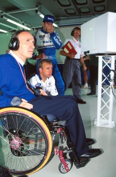 Frank Williams(GBR) Williams Team Boss, had another frustrating weekend. German GP, Hockenheim, 30 July 1995