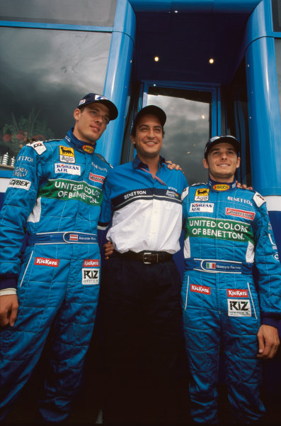 1999 Belgian Grand Prix. Spa-Fracorchamps, Belgium. 27th - 29th August 1999. Rd 12. Benetton Team Manager, Rocco Benetton, with Alexander Wurz and Giancarlo Fisichella, portrait.  World Copyright: Steven Tee/LAT Photographic. Ref:  99 RoccoB 08.