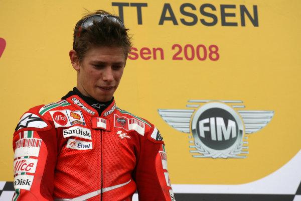 TT Circuit Assen, Netherlands. 28th June 2008.MotoGP Race.Casey Stoner Ducati Marlboro Team on the podium.World Copyright: Martin Heath / LAT Photographicref: Digital Image Only