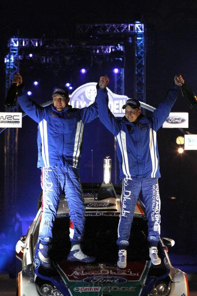 Round 01-Rally Sweden. 10th-13th February 2011.Mikko Hirvonen, Jarmo Lehtinen, Ford WRC, Podium.Worldwide Copyright: McKlein/LAT