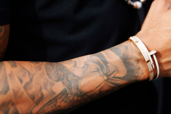 Circuit Gilles Villeneuve, Montreal, Canada. Sunday 7 June 2015. The tattoo on the arm of Lewis Hamilton, Mercedes AMG. World Copyright: Alastair Staley/LAT Photographic. ref: Digital Image _R6T0168