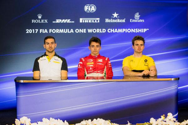 2017 FIA Formula 2 Round 8. Spa-Francorchamps, Spa, Belgium. Friday 25 August 2017. Nicholas Latifi (CAN, DAMS), Charles Leclerc (MCO, PREMA Racing), Oliver Rowland (GBR, DAMS).  Photo: Zak Mauger/FIA Formula 2. ref: Digital Image _56I2098