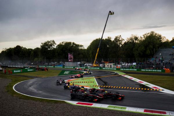2017 FIA Formula 2 Round 9. Autodromo Nazionale di Monza, Monza, Italy. Saturday 2 September 2017. Roberto Merhi (ESP, Rapax), Louis Deletraz (SUI, Rapax).  Photo: Zak Mauger/FIA Formula 2. ref: Digital Image _T9I0216