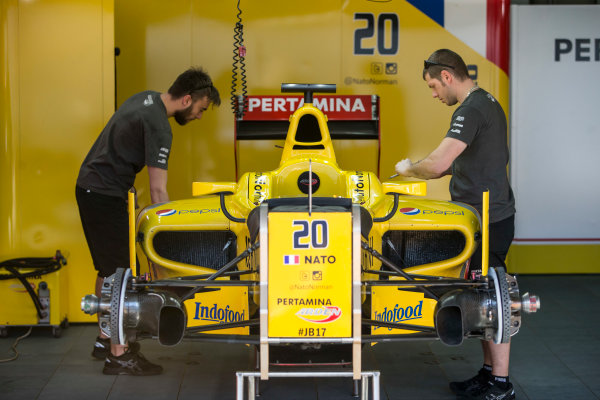 2017 FIA Formula 2 Round 10. Circuito de Jerez, Jerez, Spain. Thursday 5 October 2017. Norman Nato (FRA, Pertamina Arden) car in the garage. Photo: Andrew Ferraro/FIA Formula 2. ref: Digital Image _FER8145