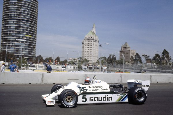 1982 United States Grand Prix West.Long Beach, California, USA. 2-4 April 1982.Mario Andretti (Williams FW07C-Ford Cosworth), retired.World Copyright: LAT PhotographicRef: 35mm transparency 82LB12